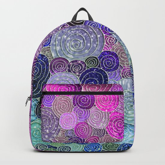 Abstract blue& purple glamour glitter circles and dots for Girls and ladies Backpack
