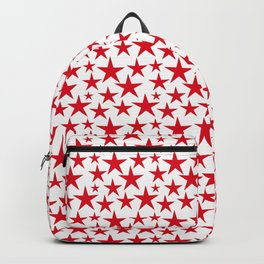 Red stars on white background illustration Backpack