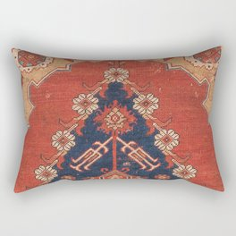 Southwest Tuscan Shapes III // 18th Century Aged Dark Blue Redish Yellow Colorful Ornate Rug Pattern Rectangular Pillow