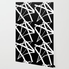 Geometric Line Abstract - Black White Wallpaper