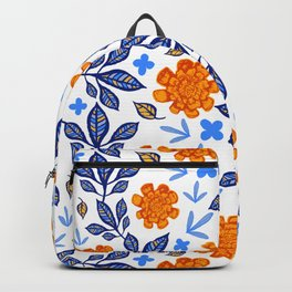 Beautiful Blue anmd Orange Floral Pattern - Nature Inspired Seamless Pattern Backpack