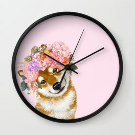 Shiba Inu with Flower Crown Wall Clock