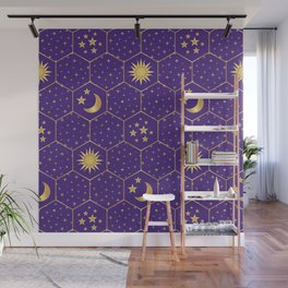 Golden Sun, golden Moon hexagons pattern on violet Wall Mural