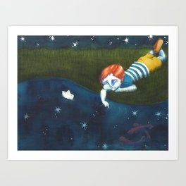 Fishes and stars Art Print