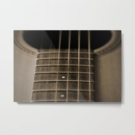 acoustic guitar fretboard, sepia - oil painting Metal Print