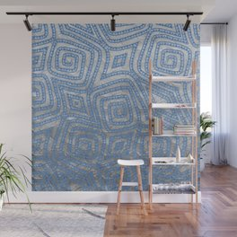 Blue and Sliver Spiral Diamond Pattern Wall Mural