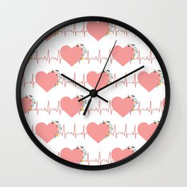 Flower ECG Hearts Wall Clock