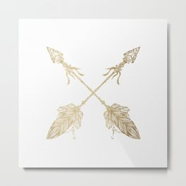Tribal Arrows Gold on White Metal Print