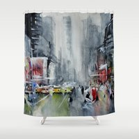 new york Shower Curtains featuring New York - New York by Nicolas Jolly