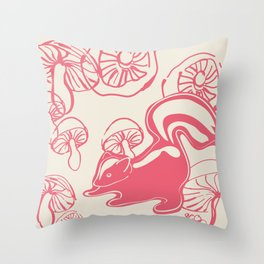 skunk with mushrooms Throw Pillow