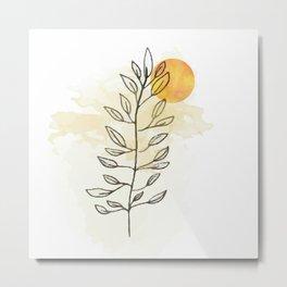 Sun and leaves, modern minimal line drawing botanical line art mid-century modern, minimal home decor, mid century plant art print Metal Print