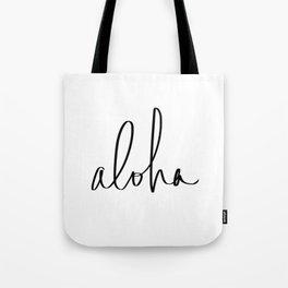 Aloha Hawaii Typography Tote Bag