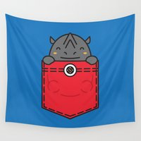 pocket Wall Tapestries featuring Pocket Rhino by Steven Toang