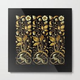 Anton Seder Lizards And Flowers Metal Print