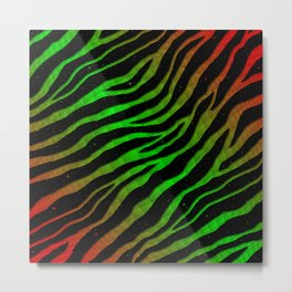 Ripped SpaceTime Stripes - Red/Green Metal Print