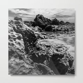 Landscape of sea rocks and sand. Metal Print