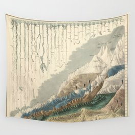 1854 Comparative Lengths of Rivers and Heights of Mountains Wall Tapestry