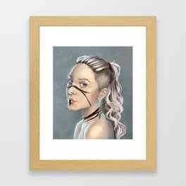 Woman with face paint Framed Art Print