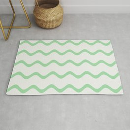 Pastel Green Soft Rippled Horizontal Line Pattern on Linen White 2020 Color of the Year Neo Mint Rug