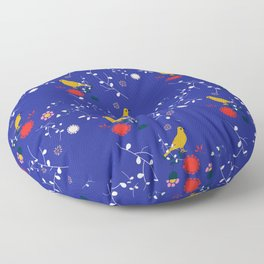 Bird and blossom electric blue Floor Pillow