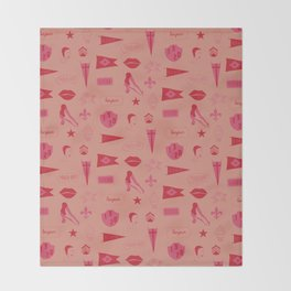 Patches - Pink + Red Throw Blanket