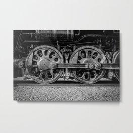 Steam Locomotive Drive Wheels Black and White Train Tracks Metal Print