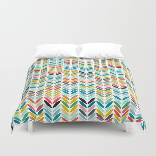 llama leaf arrow chevron white Duvet Cover