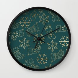 Forest green and faux gold foil Christmas snowflakes stockings Wall Clock