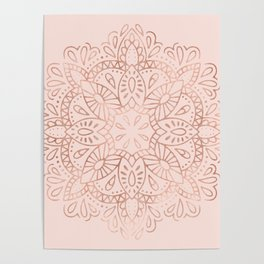 Mandala Rose Gold Pink Shimmer on Blush Pink Poster