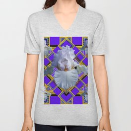 ART DECO WHITE IRIS PURPLE ART Unisex V-Neck