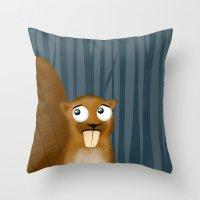 beaver Throw Pillows featuring Beaver by makoshark
