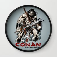 conan Wall Clocks featuring Conan by CromMorc