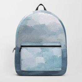Indigo Navy Sky Blue Gray White Ocean Horizon, Abstract Sea Rainy Cloudy Stormy Water, Painting Art Backpack