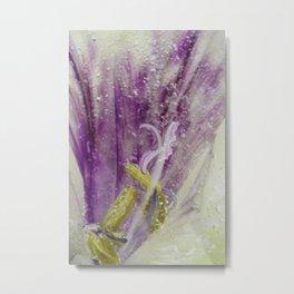frozen purple flower petal abstract  Metal Print