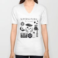 acdc V-neck T-shirts featuring Supernatural in a Nutshell by Katie Gaughan