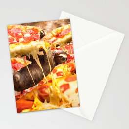 Funny Space Sloth With Pizza Stationery Cards