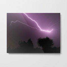 Purple Lightning Night Sky Metal Print