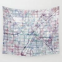 las vegas Wall Tapestries featuring Las Vegas map by MapMapMaps.Watercolors