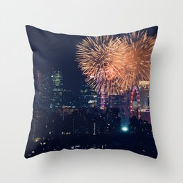 Fireworks in the City (Color) Throw Pillow
