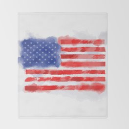 Watercolor American Flag for Veterans and Patriots Throw Blanket