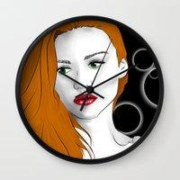 lydia martin Wall Clocks featuring Lydia Martin by reliand