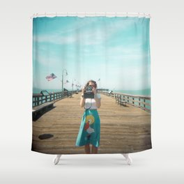 Camera Girl on the California Coast - Holga Photo Shower Curtain