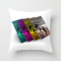 popart Throw Pillows featuring PopArt HORSE by MehrFarbeimLeben