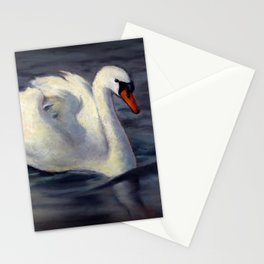 Swan Swimming in Sunshine, Oil Pastel Painting Stationery Cards