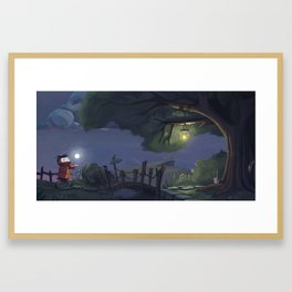 Walk with my little moon Framed Art Print