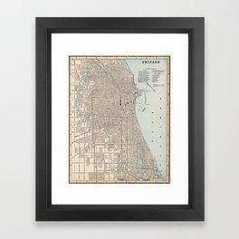 Vintage Map of Chicago (1893) Framed Art Print