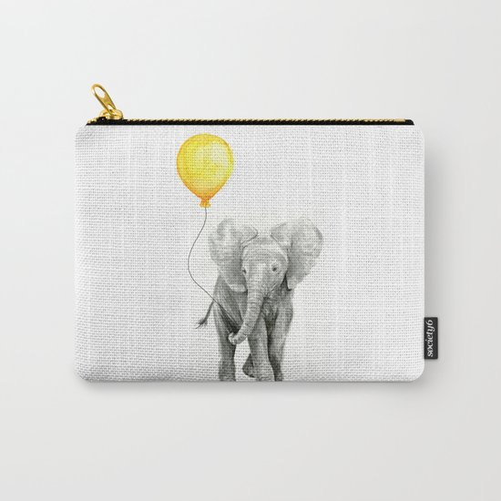 Elephant Watercolor Yellow Balloon Whimsical Baby Animals Carry-All Pouch