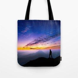 sunset hiker Tote Bag