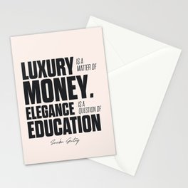 Sacha Guitry, inspirational quote, classy gentleman luxury & money, elegance & education, politeness Stationery Cards