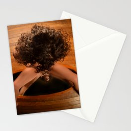 6171-KD Nude Art Model Sitting On Mirror Looking Down Stationery Cards